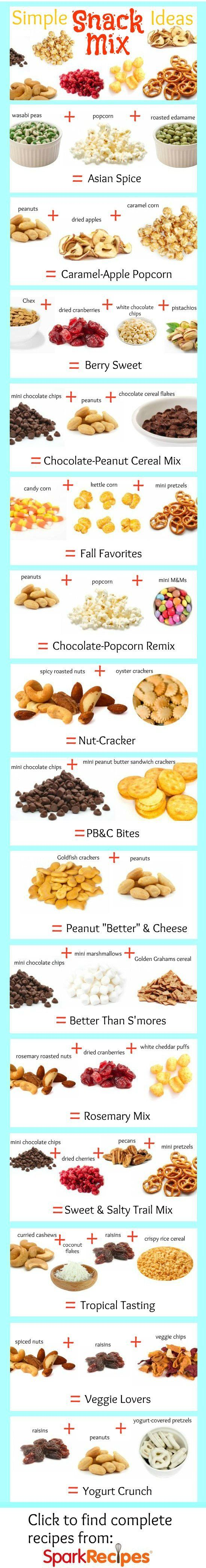 Super Simple Snack Mix Recipes. YUM--great ideas here! | via @SparkPeople #snacks #smartsnacks #food