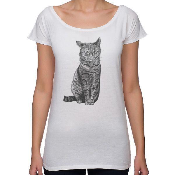 Koszulka damska oversize z kotem klapnięte uszko