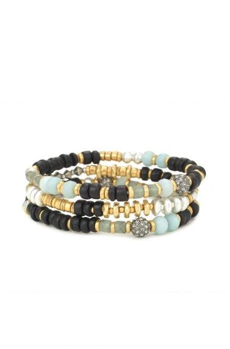 Layer on a beaded bracelet with gemstone beads & pops of color in metal & wood for a nice night out. Find a blue bracelet or bead bracelets at Stella & Dot.