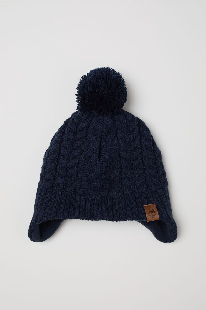 Fleece Lined Hat With Earflaps Dark Blue Kids H M Us Fall Family Outfits Knitted Hats Fall Dressy