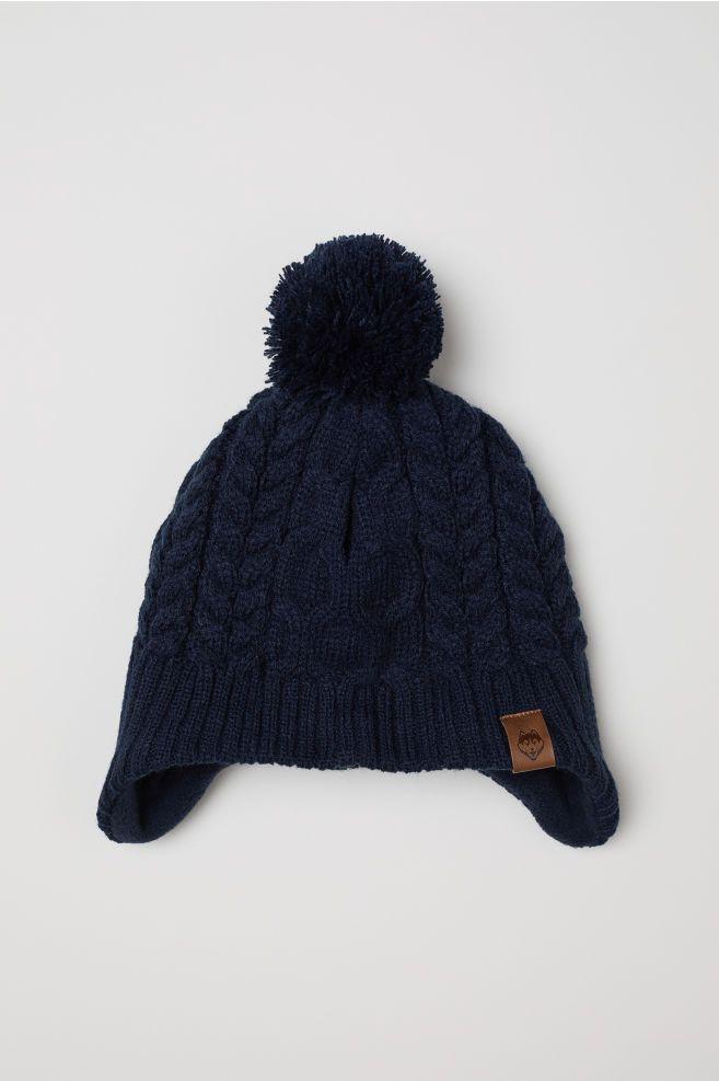 823c52b5152 Fleece-lined Hat with Earflaps - Dark blue -