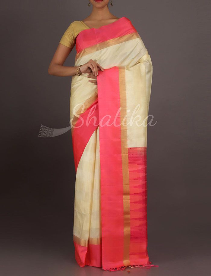 Vasantha Cream And Pink Lace Gold Border Pure #PattuSilkSaree