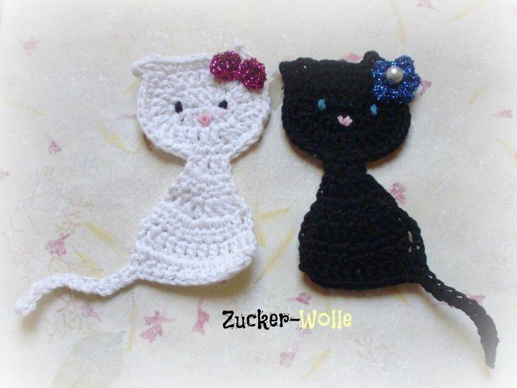 Häkelapplikationen - Katze Aufnäher - ein Designerstück von Zucker-Wolle bei DaWanda
