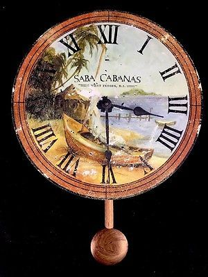Howard Miller Moment In Time Saba Cabanas West Indies Tropical Wall Clock 13""