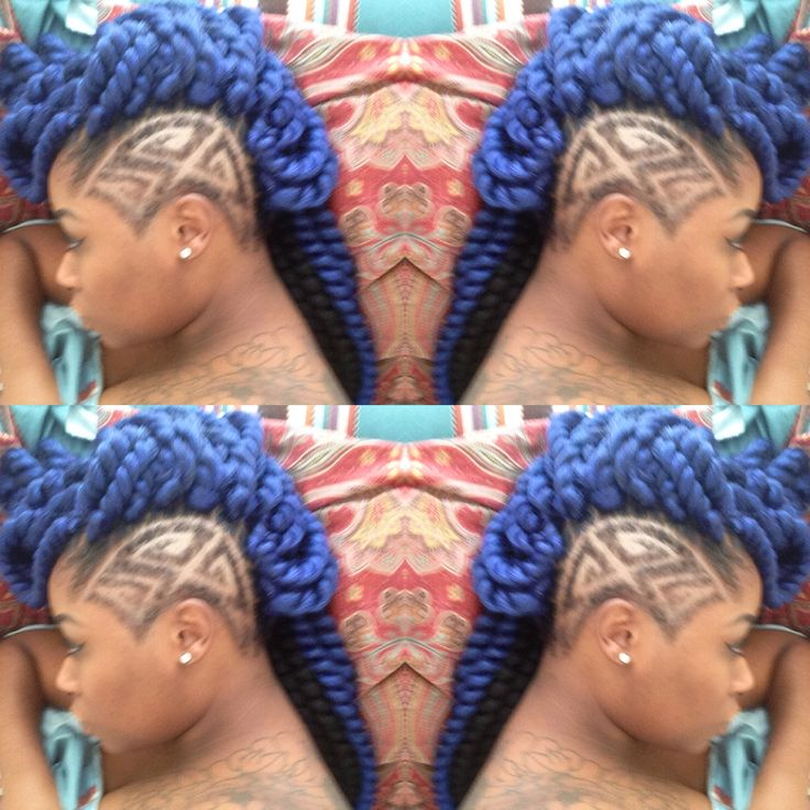 crochet havana twists with shaved side design  dope blue