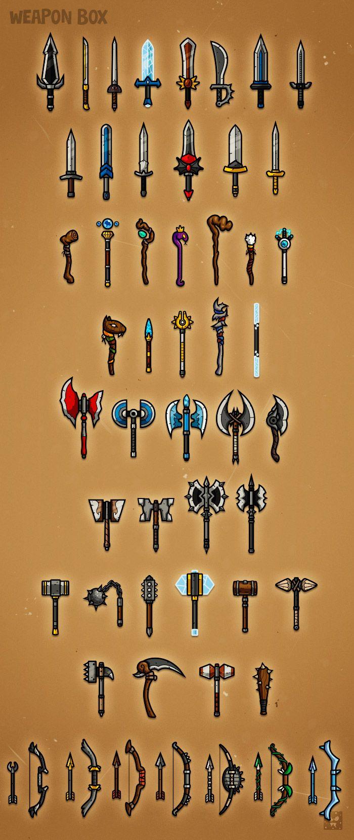 Weapon Box 1 - weapon designs for RPG class #EatCreatures #DanielFerencak…
