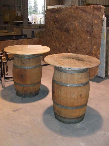 For the stand up tables in the bar areas. Use wine barrel tables with no linen and just a small center piece