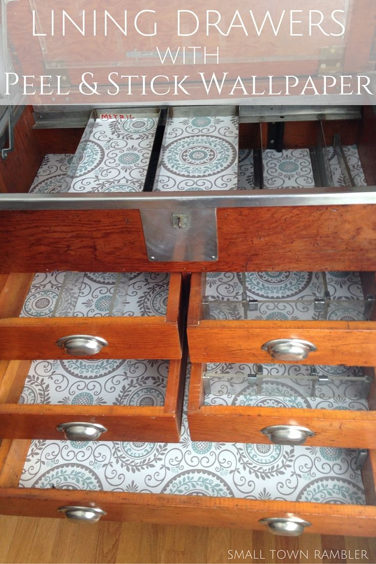 Lining Drawers with Peel and Stick Wallpaper