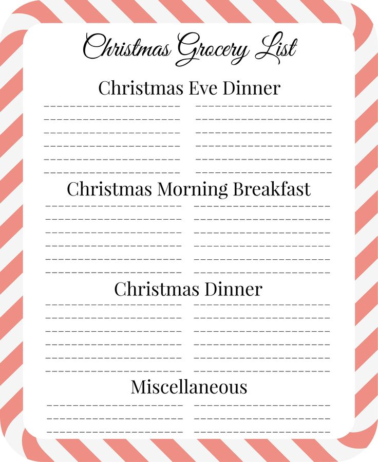 65 best Christmas Grocery List☑ images on Pinterest Christmas - christmas preparation checklist