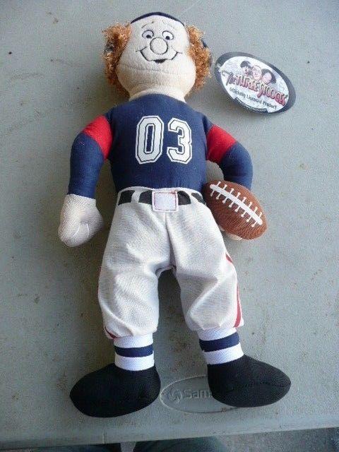 Retired Three Stooges Larry Plush Doll w/ Retro Football Player Uniform Helmet + #ThreeStoogesGoodStuff
