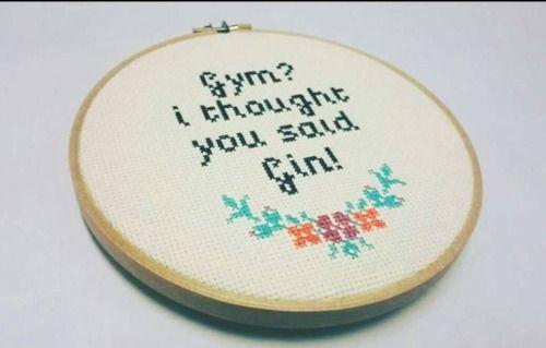 yesixicana: Cross Stitch Quote Embroidery Hoop Art - Gym i... yesixicana: Cross…