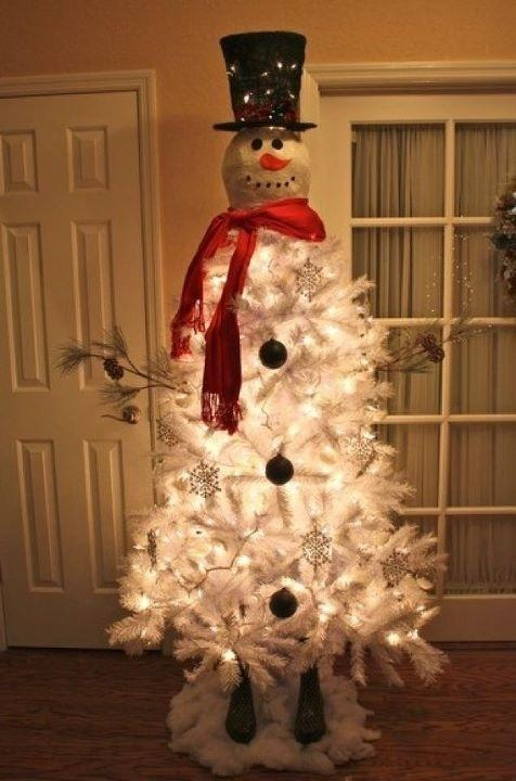 Snowman Christmas Tree...love it!: Christmasdecor, White Christmas Trees, Snowman Christmas Trees, Cute Ideas, Snowman Trees, White Trees, Christmas Decor, Dollar General, Front Porches