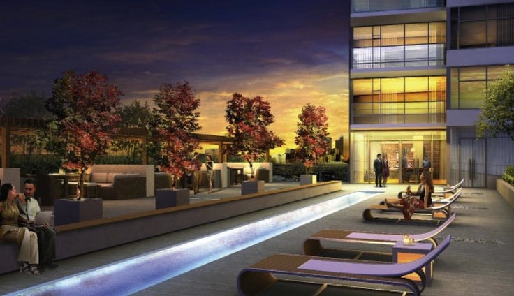 """Your terrace, an inviting combination of public and intimate spaces, inviting day or night. © 2012 ELAD CANADA INC. ALL RIGHTS RESERVED. All images of the interior and exterior of Dream Tower are artist's concept drawings and may not accurately or completely represent the views, furnishings or room orientations in the final """"as built"""" building."""