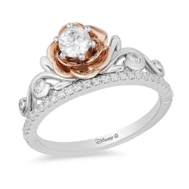 Enchanted Disney Belle 1/2 CT. T.W. Diamond Rose Tiara Engagement Ring in 14K Two-Tone Gold