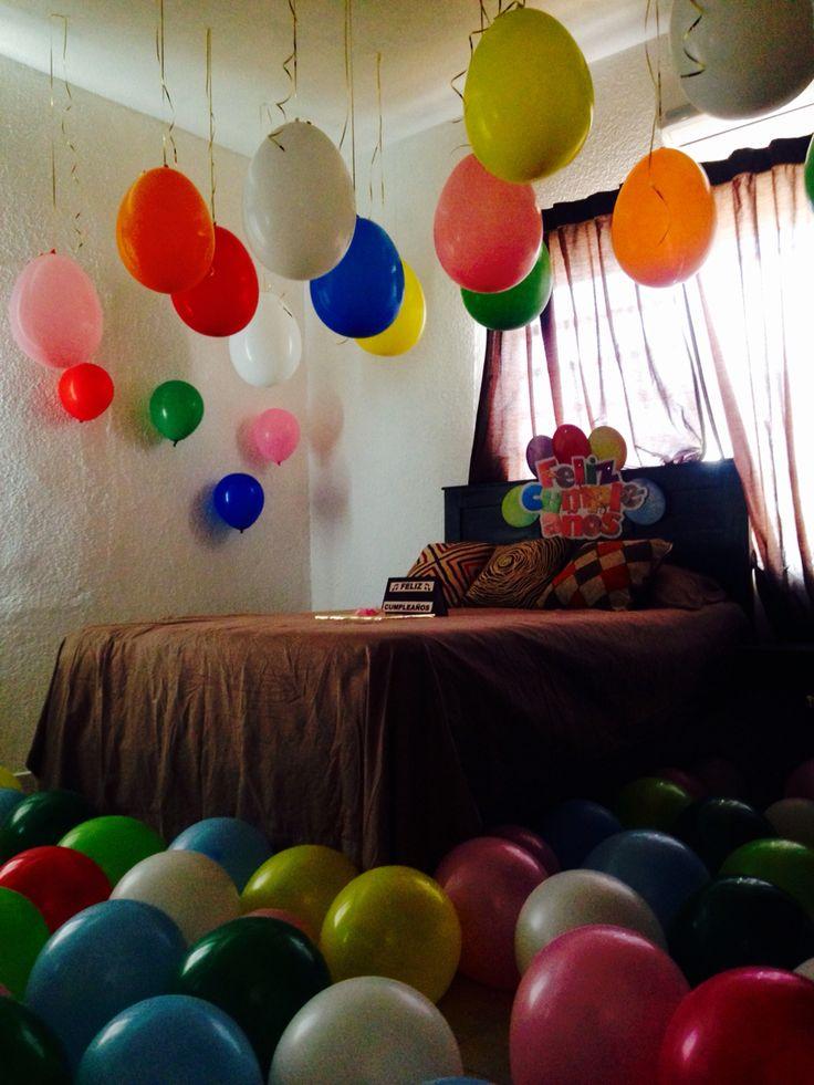 Cuarto adornado sorpresa feliz cumplea os globos - Como hacer decoracion de cumpleanos ...