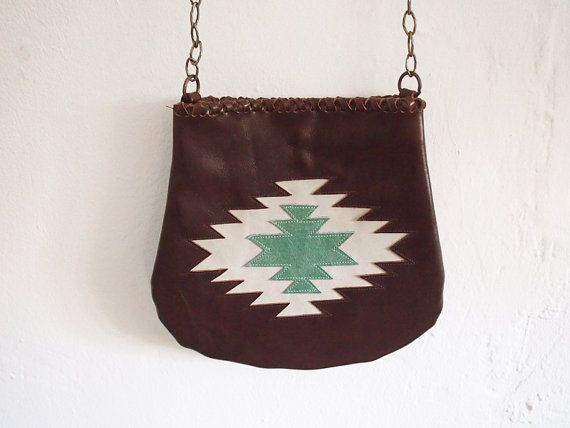 Brown Leather Purse. Boho Style cross body bag with a navajo cross sewed as a detail on Etsy, $89.00