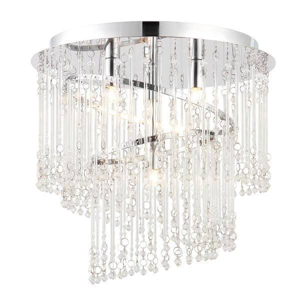 Snow Inspired... The Camille is a 4 light flush ceiling fitting. Finished in chrome with clear crystal droplets in a spiral design, creating a shimmering effect. Dimmable and suitable for use with LED lamps  Finish: Clear Glass & Chrome Effect Plate Material: Glass & Steel Dimensions: 330mm projection x 350mm diameter Voltage: 220-240V Bulb Details: 4 x 28W G9 clear capsule Bulb Included: No Dimmable: Dimmable