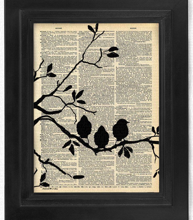 Liebe auf den ersten Blick, Liebesvögel, Satz von 4, Vogel Kunst Druck-Set, Wörterbuch Art, Buchkunst, Wand Dekor, Wall Art Mixed Media Collage, Geschenk