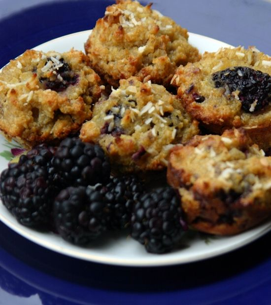Paleo Blackberry Coconut Crumble Muffins - to make low carb use Nature ...