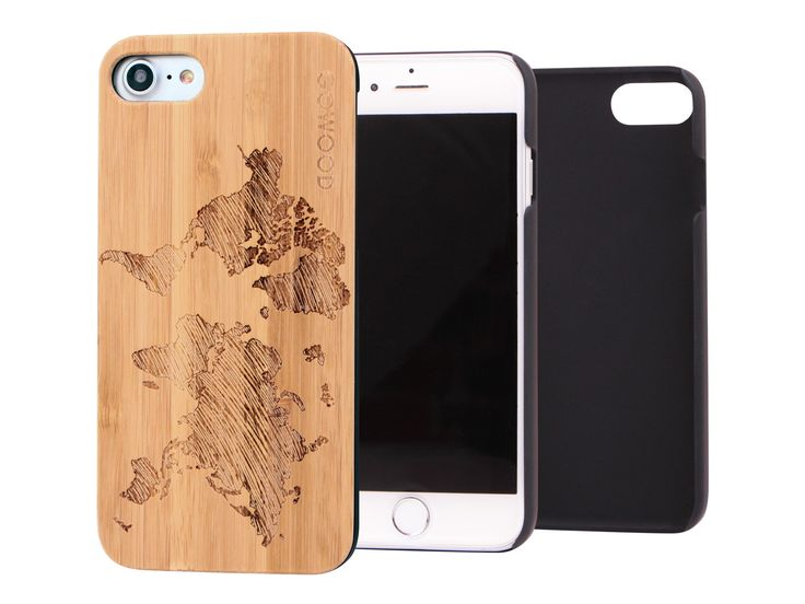 iPhone 7 wood case with engraved world map on bamboo backplate & shock absorption protective polycarbonate sides. #iphone7 #iphone #case #wood #bamboo #world #map