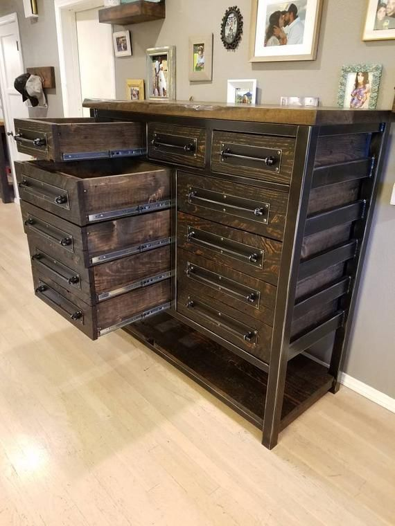 Vintage Industrial Reclaimed 11 Drawer Dresser/Storage/Chest of ...