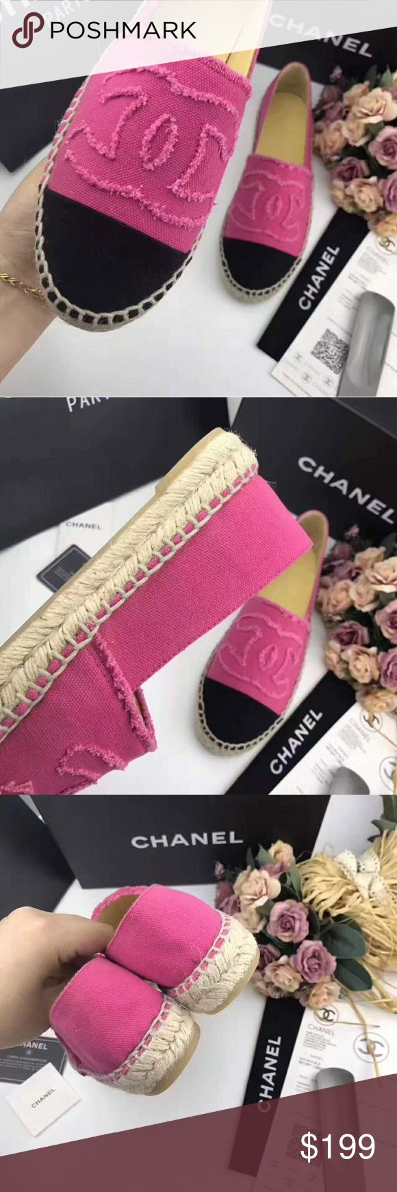 Chanel Espadrilles 2017  Pink Canvas Espadrilles. Price reflects auth. Sizing run small - order full size up. Delivery might take up to 2 weeks. No trades. No returns or exchanges.  size eu 36 =22.5-23 cm size eu 37 =23-23.5 cm size eu 38 =23.5-24 cm size eu 39 =24-24.5 cm size eu 40 =24.5-25 cm size eu 41 =25-25.5 cm size eu 42 =25.5-26 cm Shoes Espadrilles