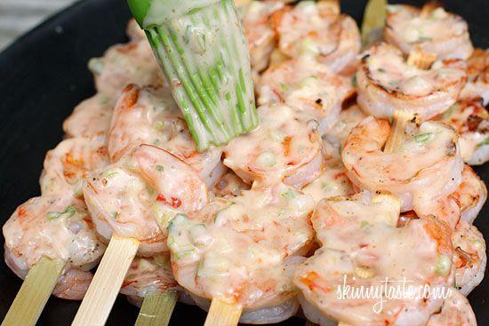 Bangin' Grilled Shrimp Skewers!Shrimp Seafood, Bang Bang Shrimp, Weights Watchers, Gluten Free Shrimp Recipe, Grilled Shrimp Skewers, Bangs Shrimp, Bangs Bangs, Healthy Recipe, Skinnytaste Bangin Shrimp