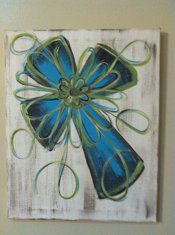 Distressed cross canvas painting by FaithfullyFramed on Etsy, $25.00