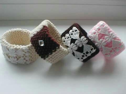 knitted cuff bracelets by Babu Szabo