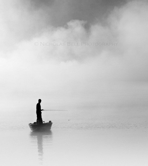 Black and white photography / fishing / fog / nautical / clouds /  Fathers Day / 10 x 11 print. $50.00, via Etsy.
