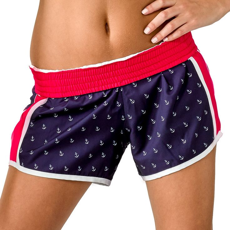 """Patriotic preppy perfection! And did we mention they're made in the USA too? Shop our """"Drop Anchor"""" running shorts, available at devonmaryn.com."""