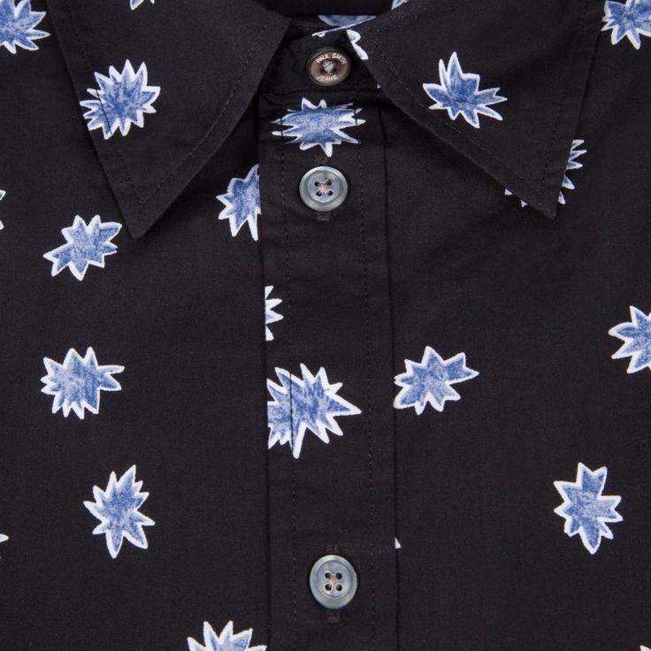 Paul Smith Men's Tailored-Fit Black 'Explosion' Print Shirt