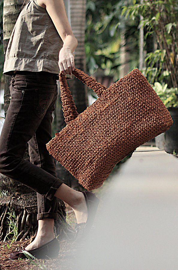 crochet satin fabric tote bag (my own pattern)