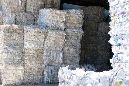 After being shredded, the paper is baled and sent to the recycling plant