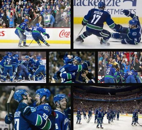 """""""Campoli has it, flips it, Burrows steals, cutting in, shoots, scoooores! They've slayed the dragon!"""" Best day ever ♥ ♥ #canucks"""