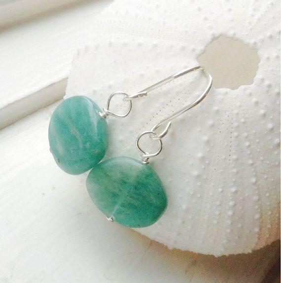 Russian Amazonite earrings green gemstone by MingJewelsChic
