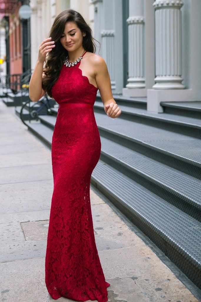 811fe3ecabc3 Hello gorgeous! As if the pretty burgundy color alone wasn't enough to  catch our eyes, the scalloped halter top and.