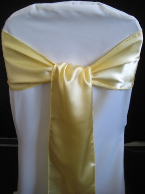 100 Satin Canary Yellow Wedding Chair Sashes Bows | eBay