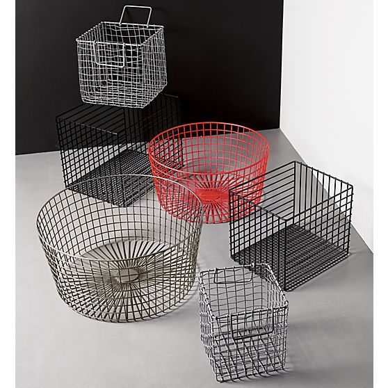 Gridlock large raw industrial baskets | CB2