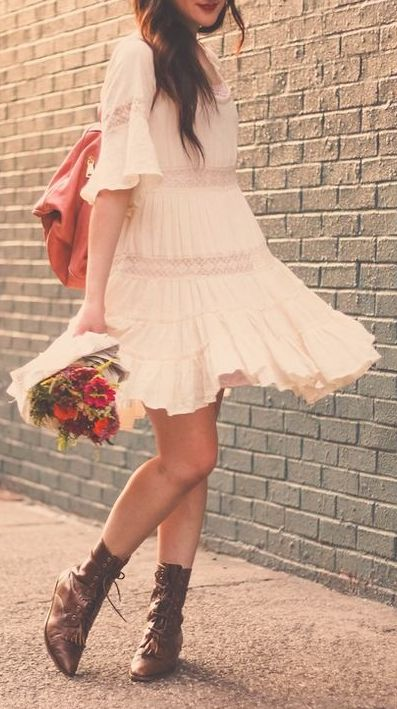 boho dress + booties (I'd go with cowboy boots)