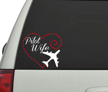 Pilot Wife with Heart and Airplane Vinyl Car Decal                                                                                                                                                                                 More