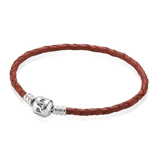 BRACELET &S/S RED PLAITED LEATHER 19CM - Jons Family Jewellers