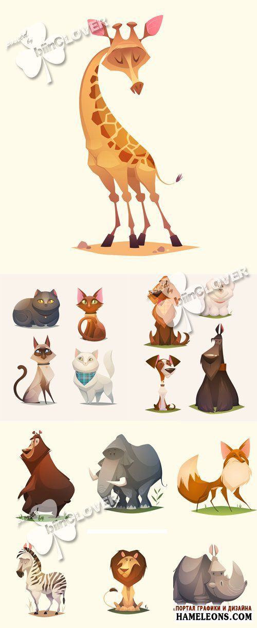 Милые мультяшные животные - жираф, коты, собаки, медведь, слон, лиса, зебра, лев, носорог - Векторный клипарт | Animals cartoon vector