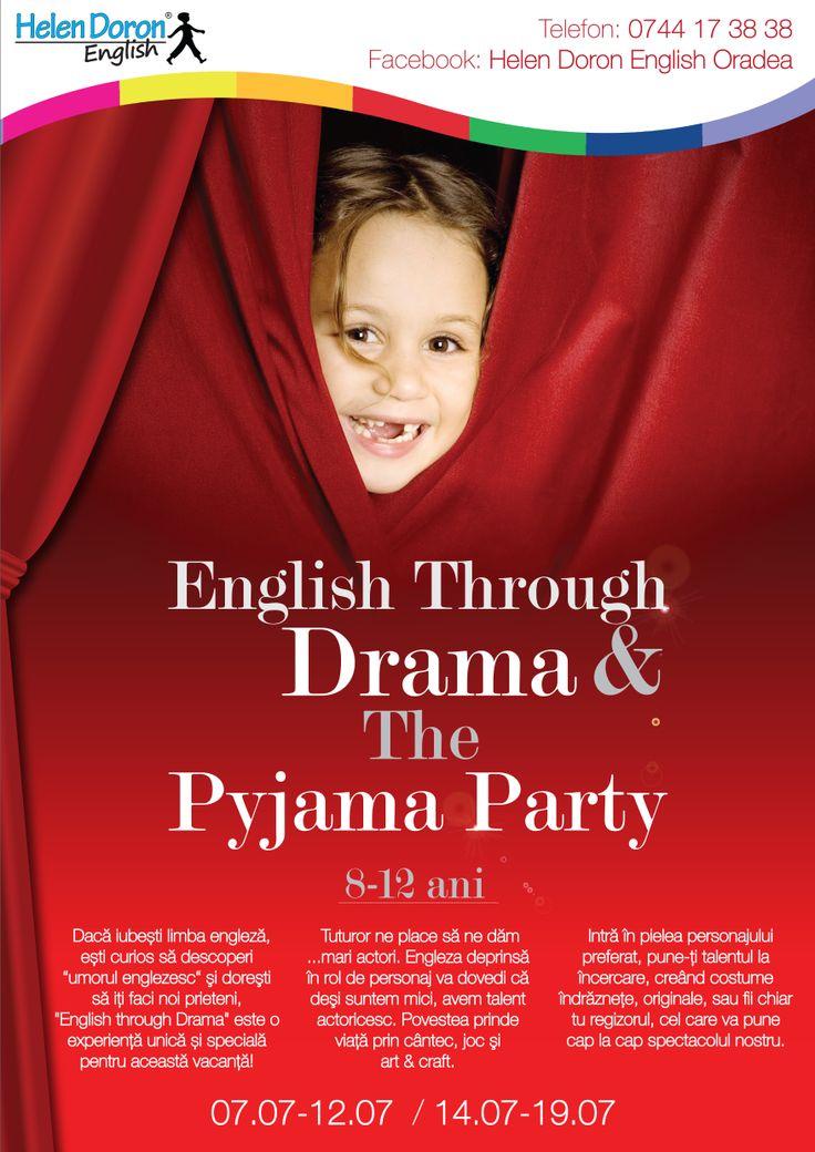 """English through Drama & The Pijama Party - Curs de vară în limba engleză  Tuturor ne place să ne dăm...mari actori. Acum copilul tău are șansa de a-și descoperi latura artistică creând costume îndrăznețe, originale, jucând marele rol sau regizând întregul spectacol. Sună interesant, nu-i așa? Oh, wait! Întregul spectacol """"English through Drama"""" se desfășoară în LIMBA ENGLEZĂ!"""