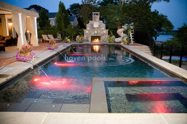 Rectangle Pool With Water Feature haven pools - pool idea (traditional rectangle with built in spa