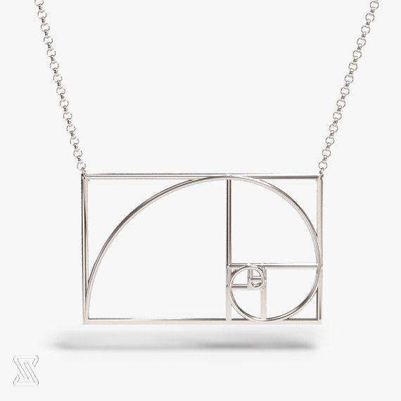 science jewelry: Fibonacci necklace - silver golden ratio necklace - wearable mathematics - Phi - irrational jewelry - Fibonacci sequence