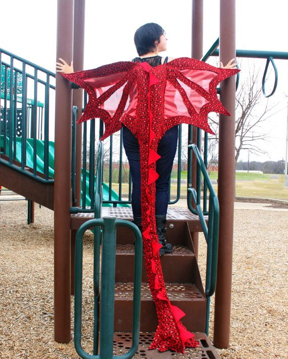 Dragon Wings Costume Super Long Tail w/ Awesome Shiny Scale Design Ages 2 to Adult