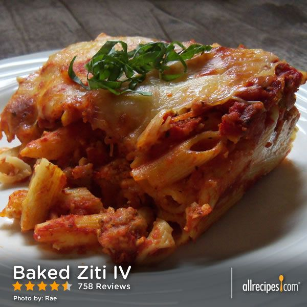 "Baked Ziti IV | ""I love this recipe! My kids call it lasagna and I make it more often since it's less time consuming. I followed some other suggestions and mix the sour cream, cottage cheese and Parmesan together."""
