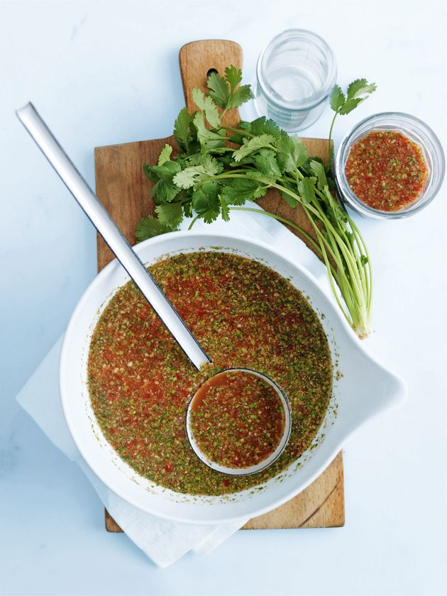 Fresh chilli sauce. Ingredients: red chillies, garlic, coriander leaves, palm sugar, fish sauce, lime juice, ginger. Recipe from Donna Hay.