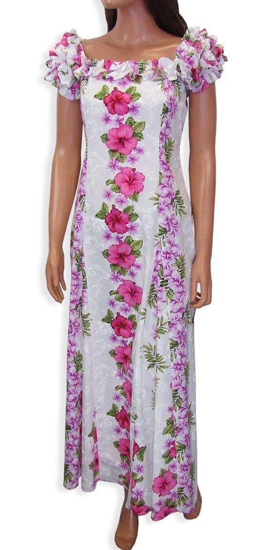 Hawaii Muumuu Dresses Big Island S 2xl Pink White Aloha